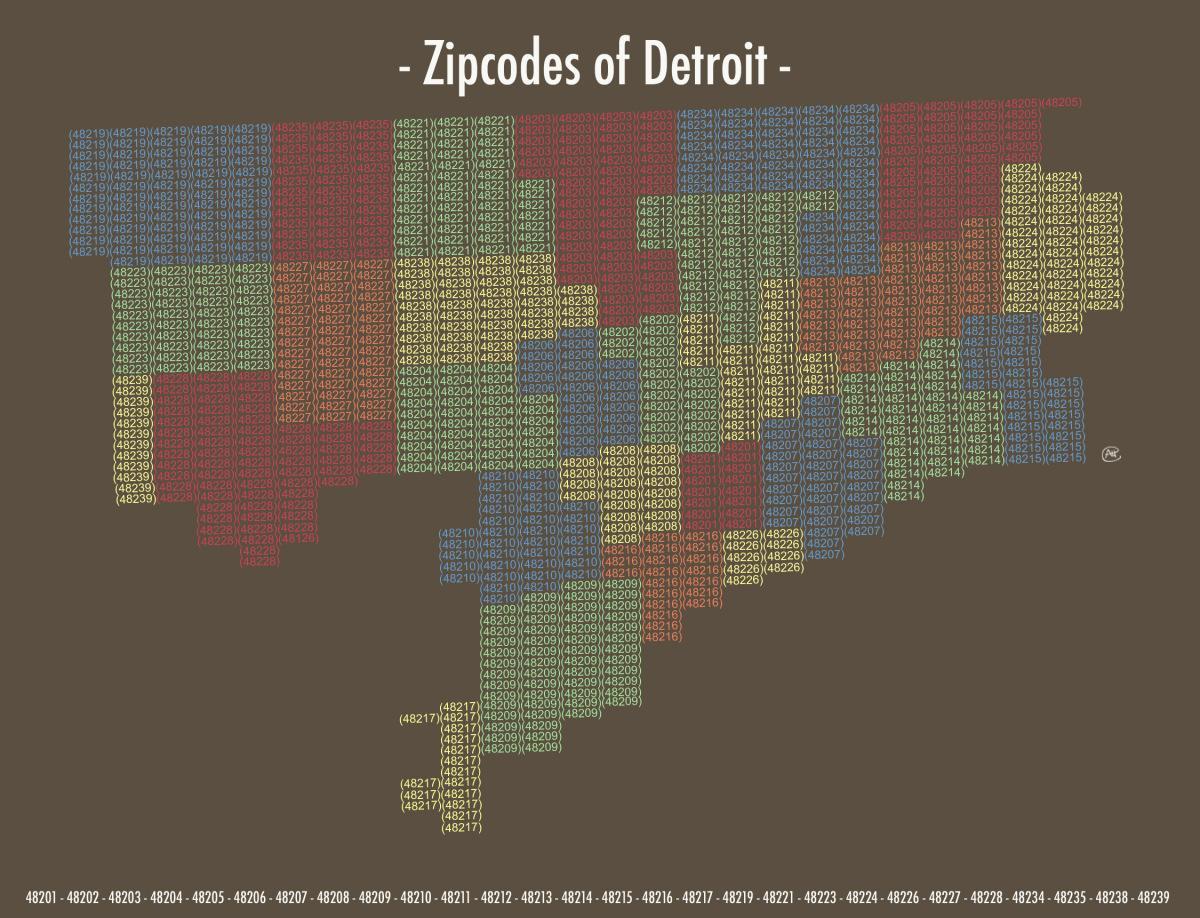 Detroit zip code map - Zip code map Detroit (Michigan - USA)
