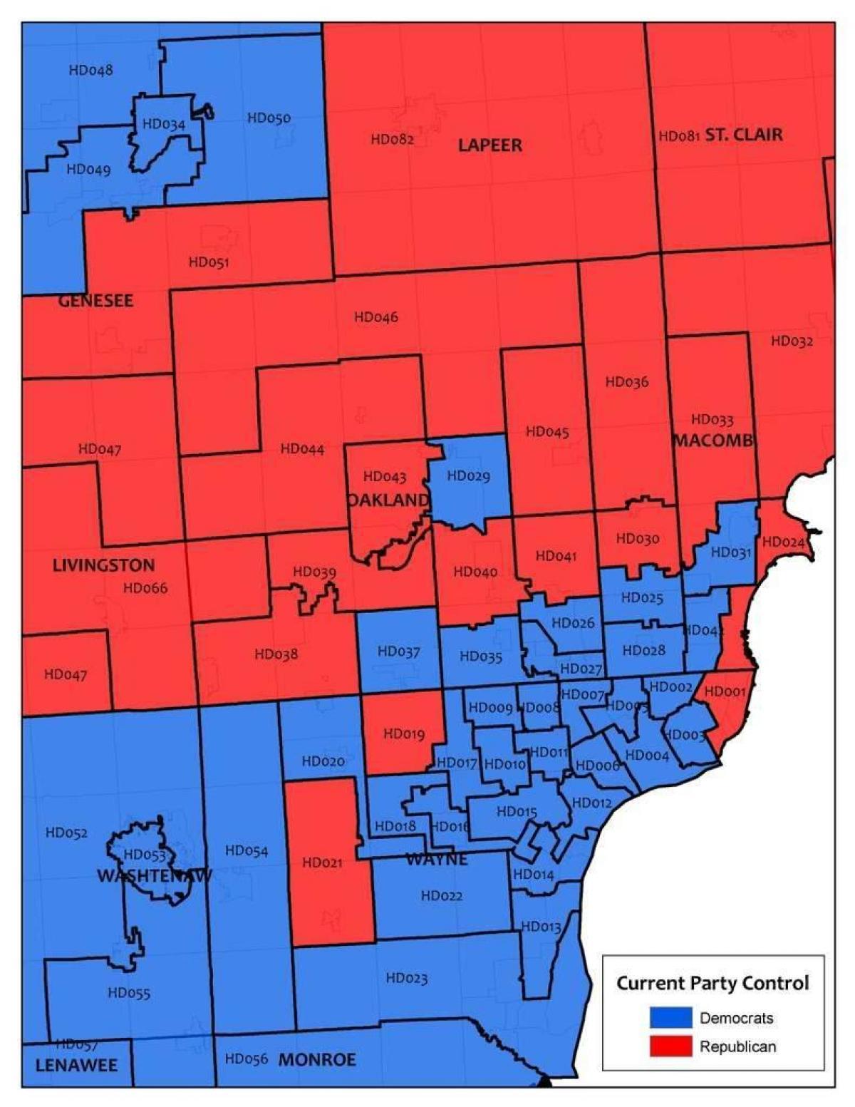 Detroit area-map - Karte der Gegend von Detroit (Michigan - USA) on