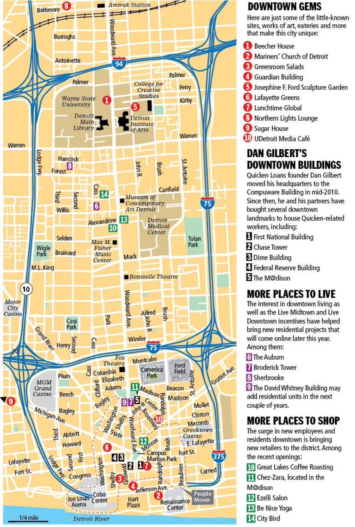 Downtown Detroit-map - Karte von der Innenstadt von Detroit ... on