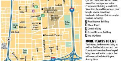 Downtown Detroitmap Karte von der Innenstadt von Detroit